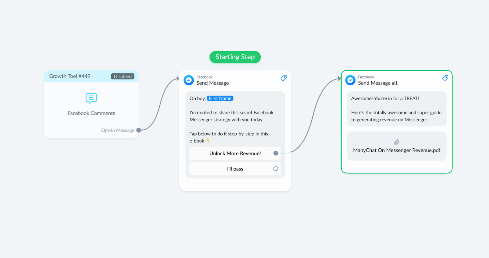 Facebook comments growth tool bot flow eample