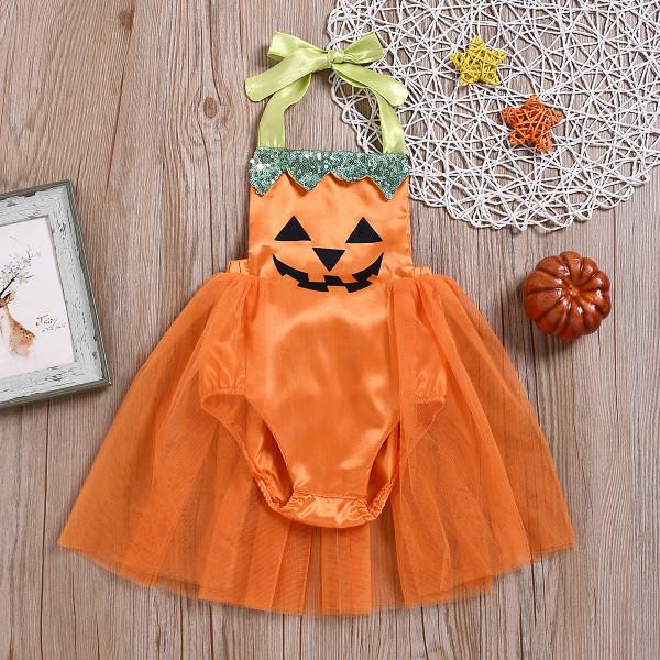 Baby Girl Dressy Halloween Jack-O'-Lantern Romper