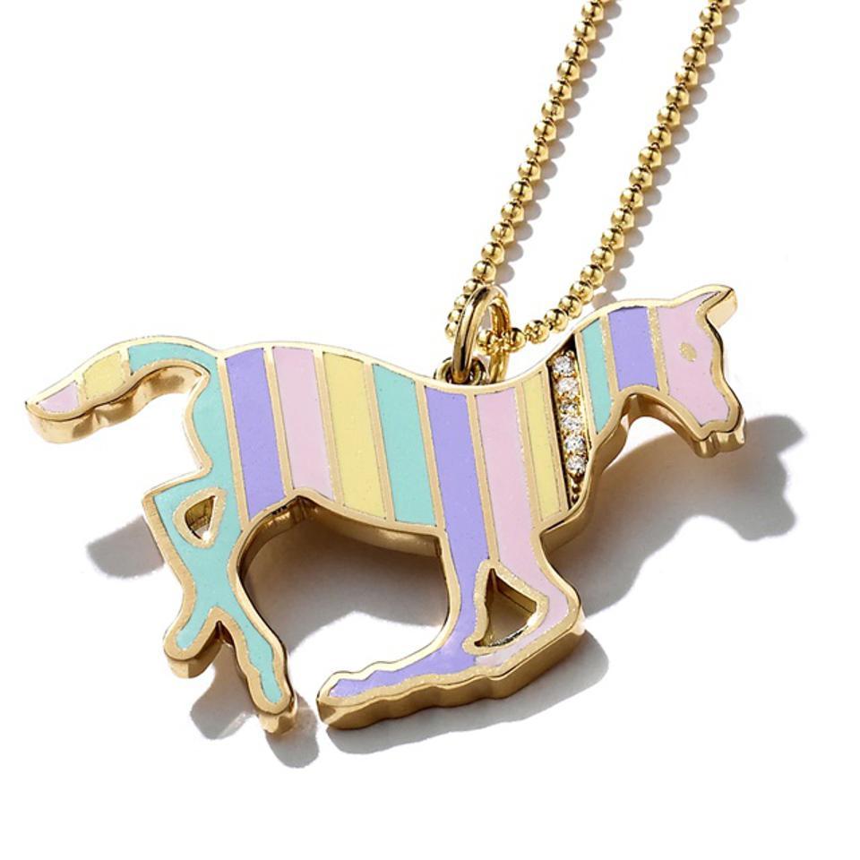 Kristin Ohmstede Gold and Diamond Stripe Rainbow Enamel Pony Necklace