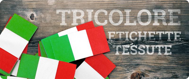 Etichette tessute con bandiera tricolore italiana per la personalizzazione dell'abbigliamento da lavoro made in italy