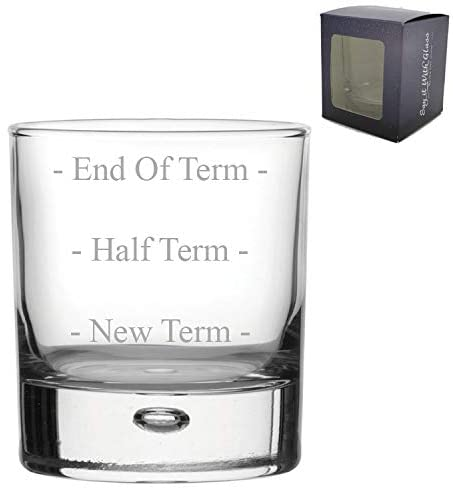 Engraved Bubble Whiskey Glass Teacher Gift End of Term Funny Gift Come in Gift Box - Birthday Teacher Gift