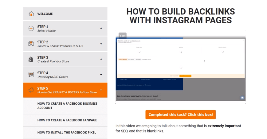 Sarah Chrisp instagram backlinking SEO strategy in The ecomm clubhouse dropshipping course