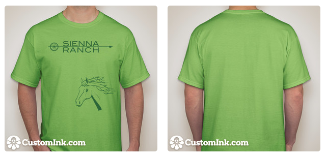 Green logo and horse printed on lime t-shirt.