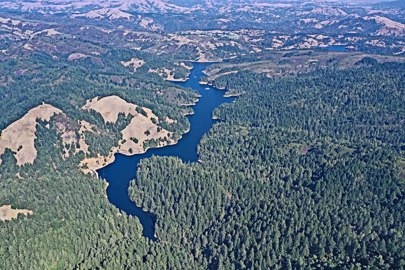 Bike ride Mt. Tamalpais from Alpine Dam - aerial drone photo of ridgeline and Alpine Lake