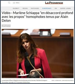 La Provence Marlène Shciappa en désaccord profond avec les propos homophobes tenus par Alain Delon