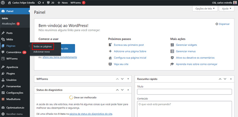 todas as páginas no wordpress