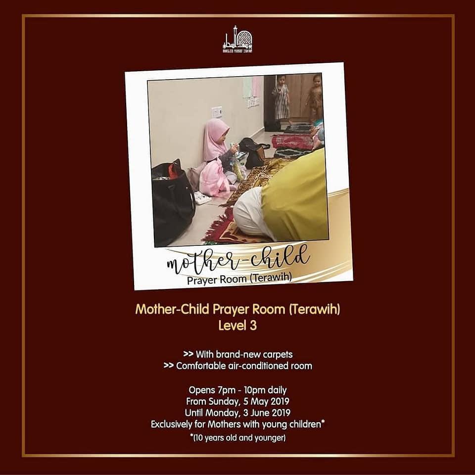 Mother-Child Prayer Room for Terawih in Masjid Yusof Ishak