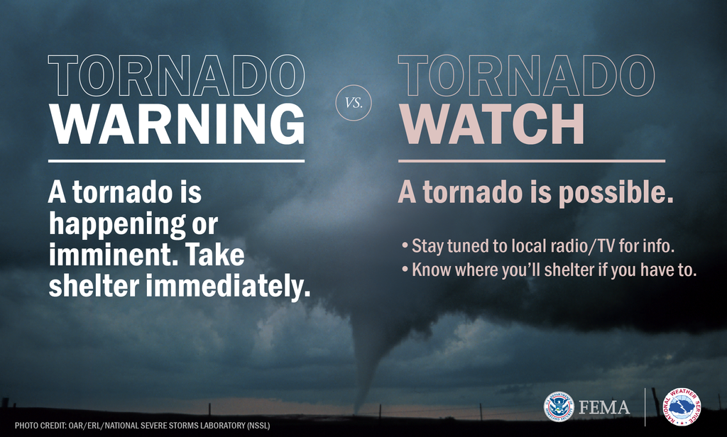 Tornado with stormy blue-grey sky. Text reads: Tornado Warning: A tornado is happening or imminent. Take shelter immediately. vs. Tornado Watch: A tornado is possible. Stay tuned to local radio/TV for info. Know where you'll shelter if you have to. Footer includes FEMA logo and NWS logo. Photo credit: OAR/ERL/National Severe Storms Laboratory (NSSL)