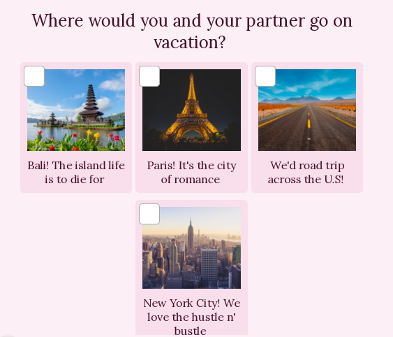 question about where would you go on vacation