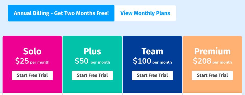 Boast.io Pricing: Solo $25/month, Plus $50/month, Team $100/month, Premium $208/month.