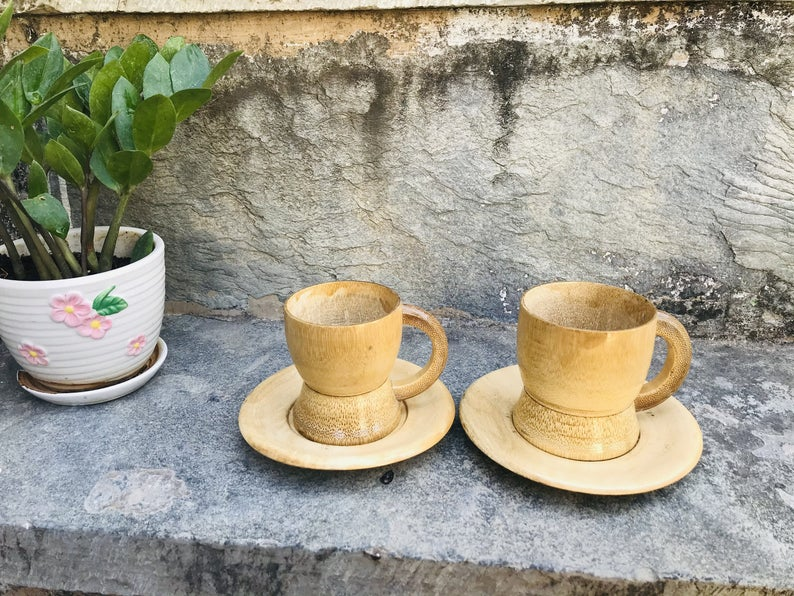 Drinkware sets of bamboo cup & saucers