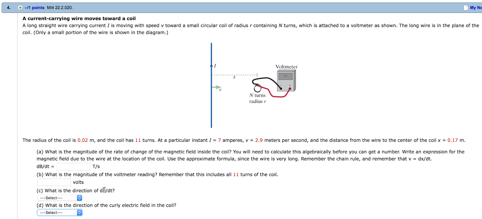 Solved A Long Straight Wire Carrying Current I Is Moving Cool Wiring Diagram 11 Points Mi4 222020 My No