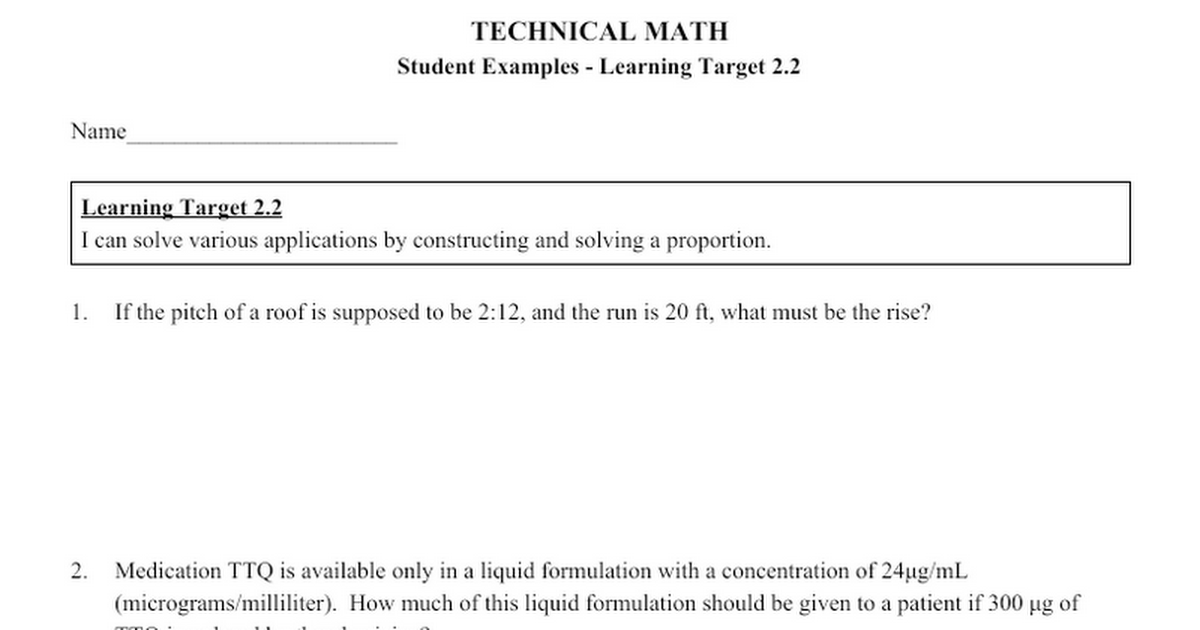 Worksheet Section 41 Student Examples Proportions Google Docs
