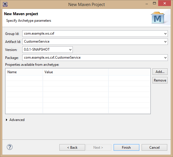 Fig - Provide Group Id, Artifact Id, version and Package information