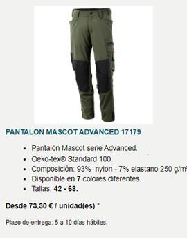 Pantalón Mascot Advanced corte amplio