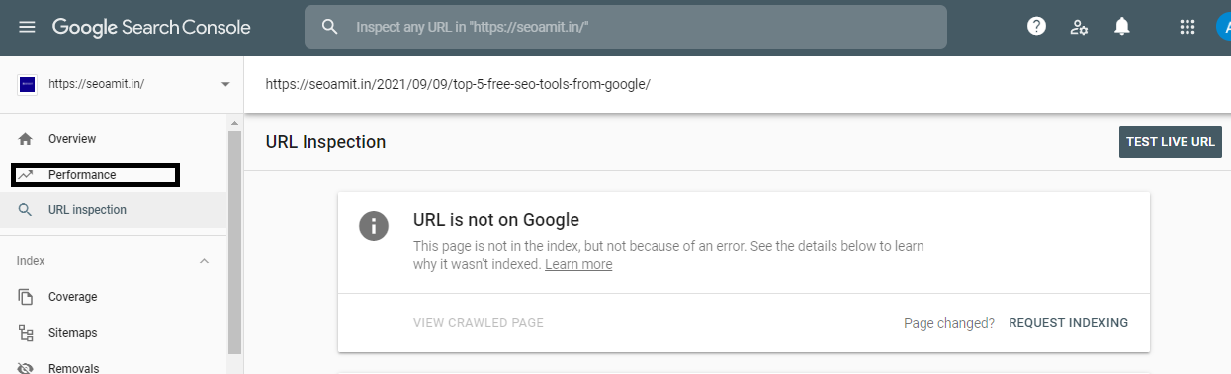 This image show how you can submit indexing request to Google