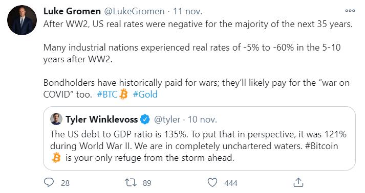 tweet de Luke Gromen sur Bitcoin et l'or en réponse à la pandémie