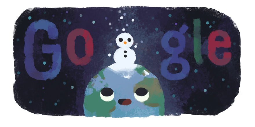 Winter themed Google logo
