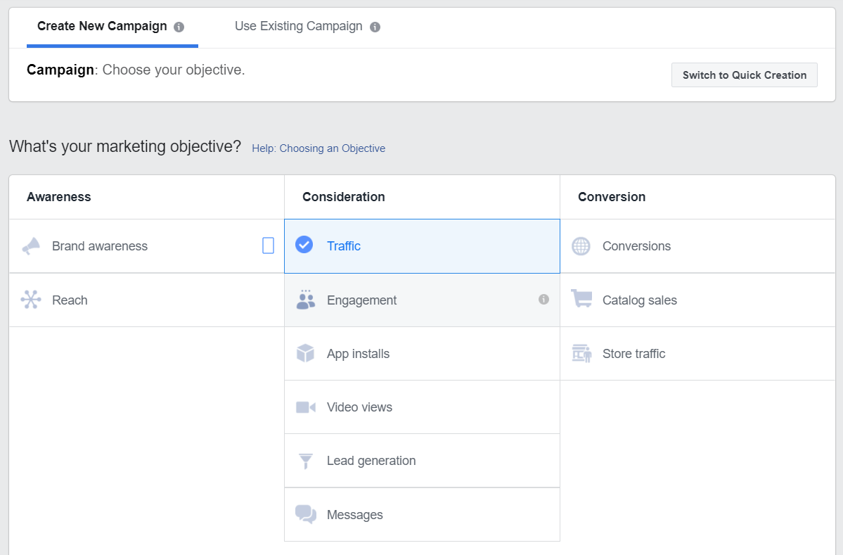 A picture of a list of objectives you can choose for your ad in Facebook Ad Manager.