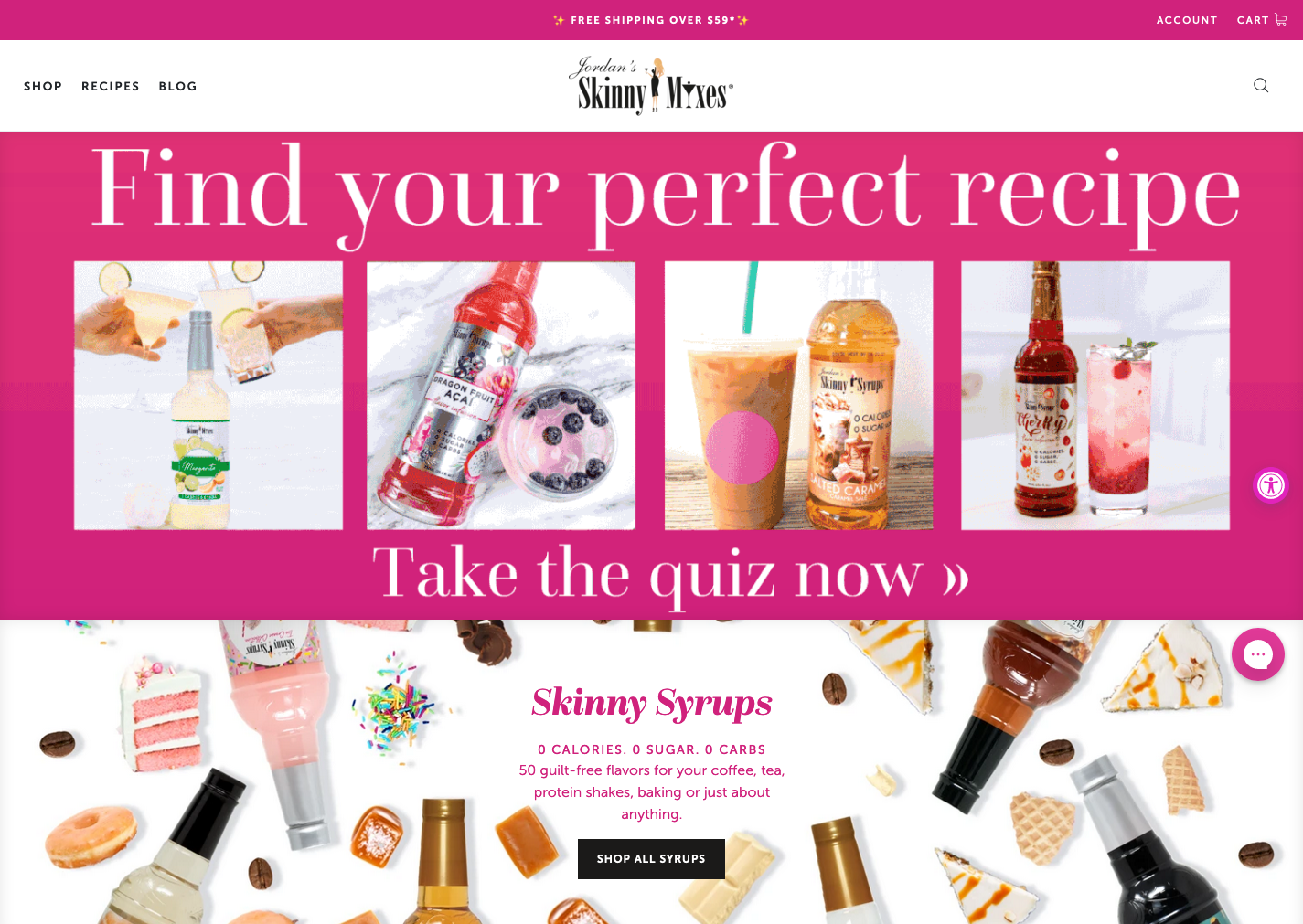 Example of Skinny Mixes' homepage with their quiz