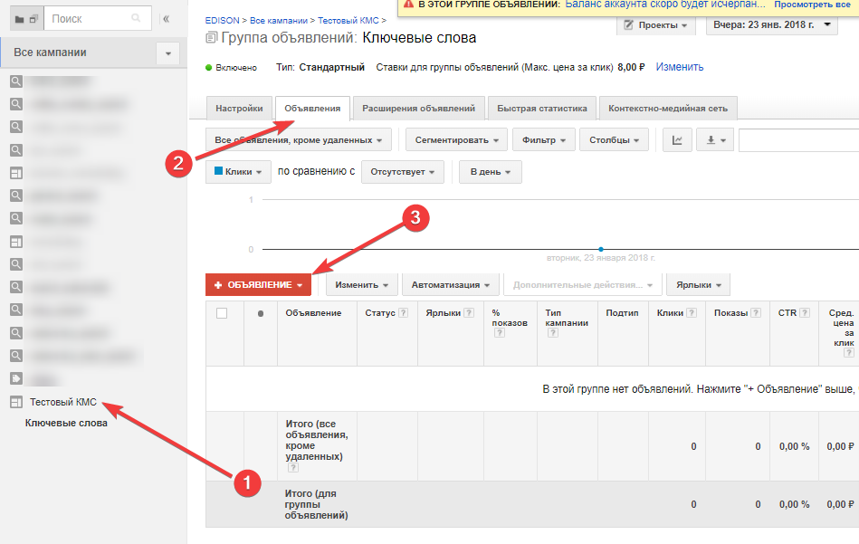 Создание объявления в КМС Google Adwords