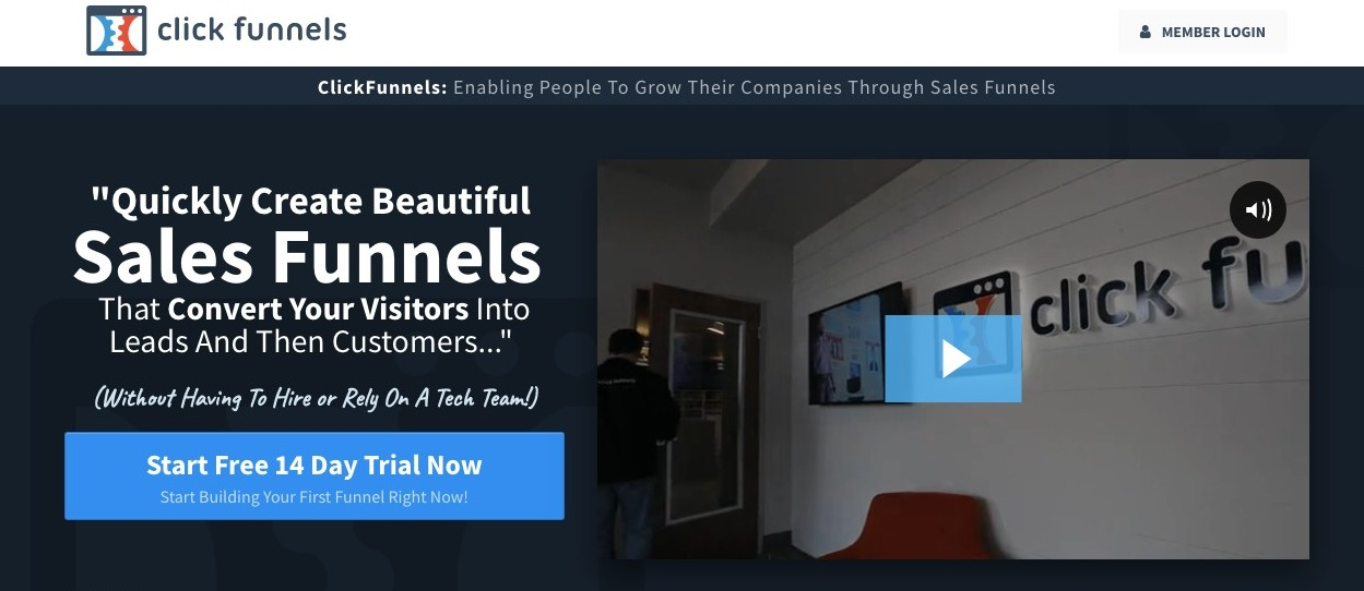 click funnels homepage