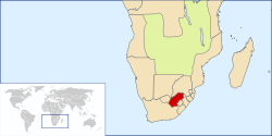 Location of the Orange Free State c. 1890