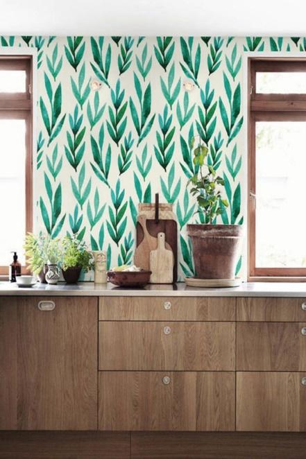 Green watercolor leaves Removable wallpaper Self-adhesive image 0