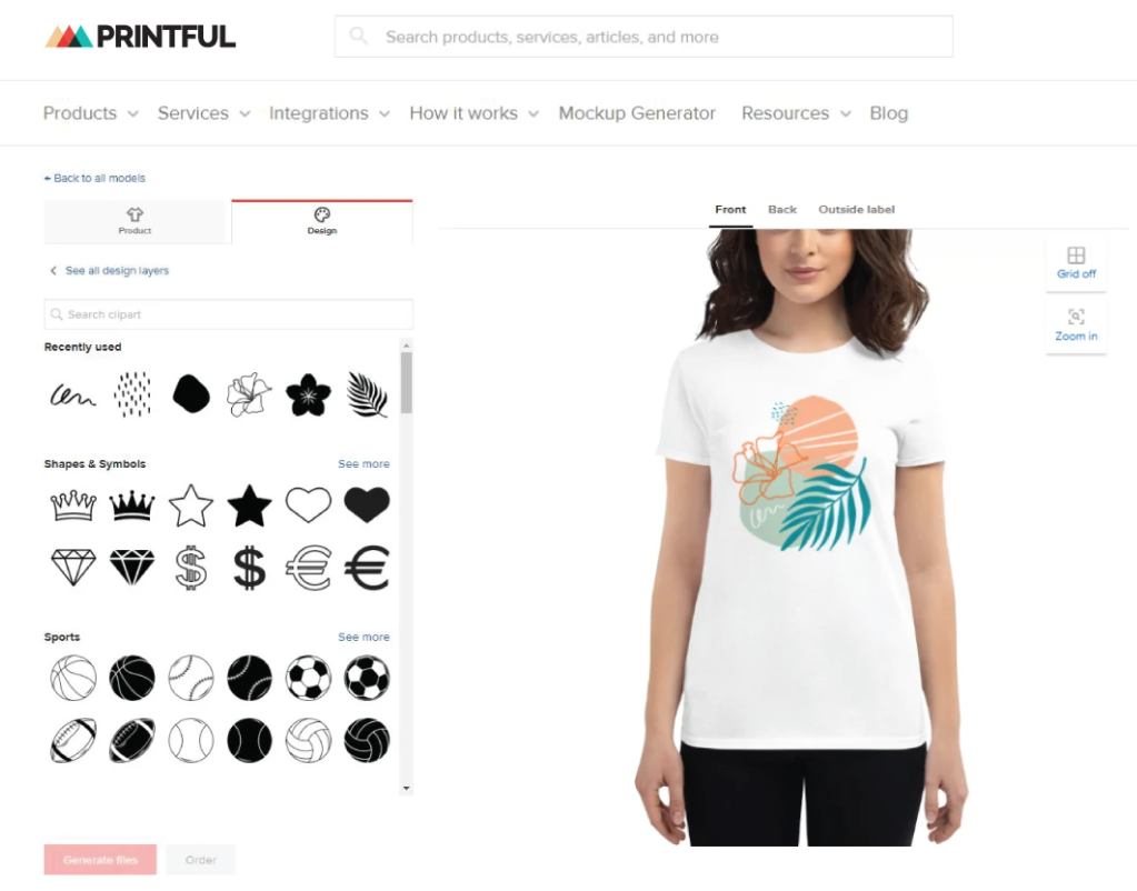 Printful's built-in design tools being used to design a t-shirt print
