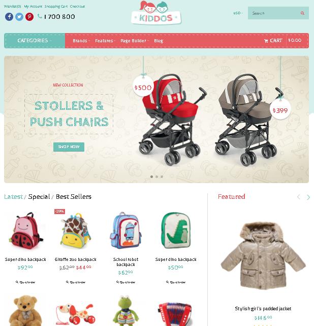 kids opencart theme kiddos shop