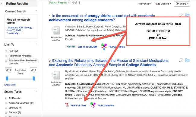 Image results list with arrows pointing to HTML Full Text, PDF Full text and Get it! at CSUSM
