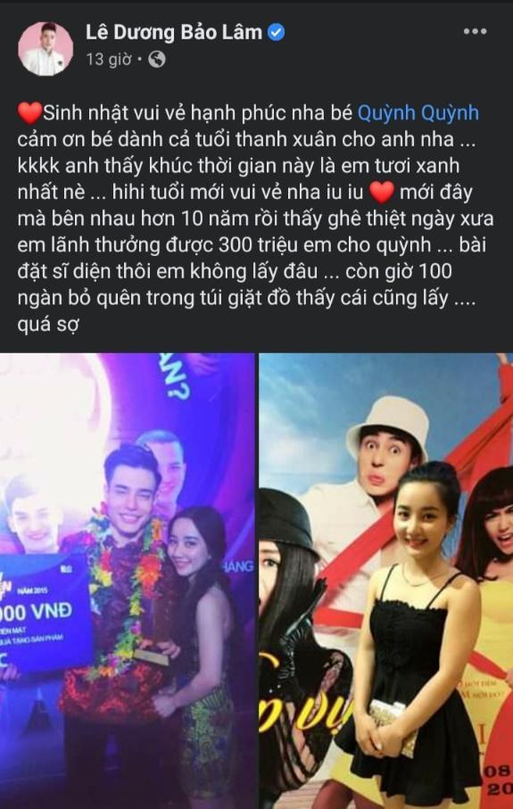 """Lê Dương Bảo Lâm chúc mừng sinh nhật vẫn không quên """"cà khịa"""" bà xã trên facebook"""