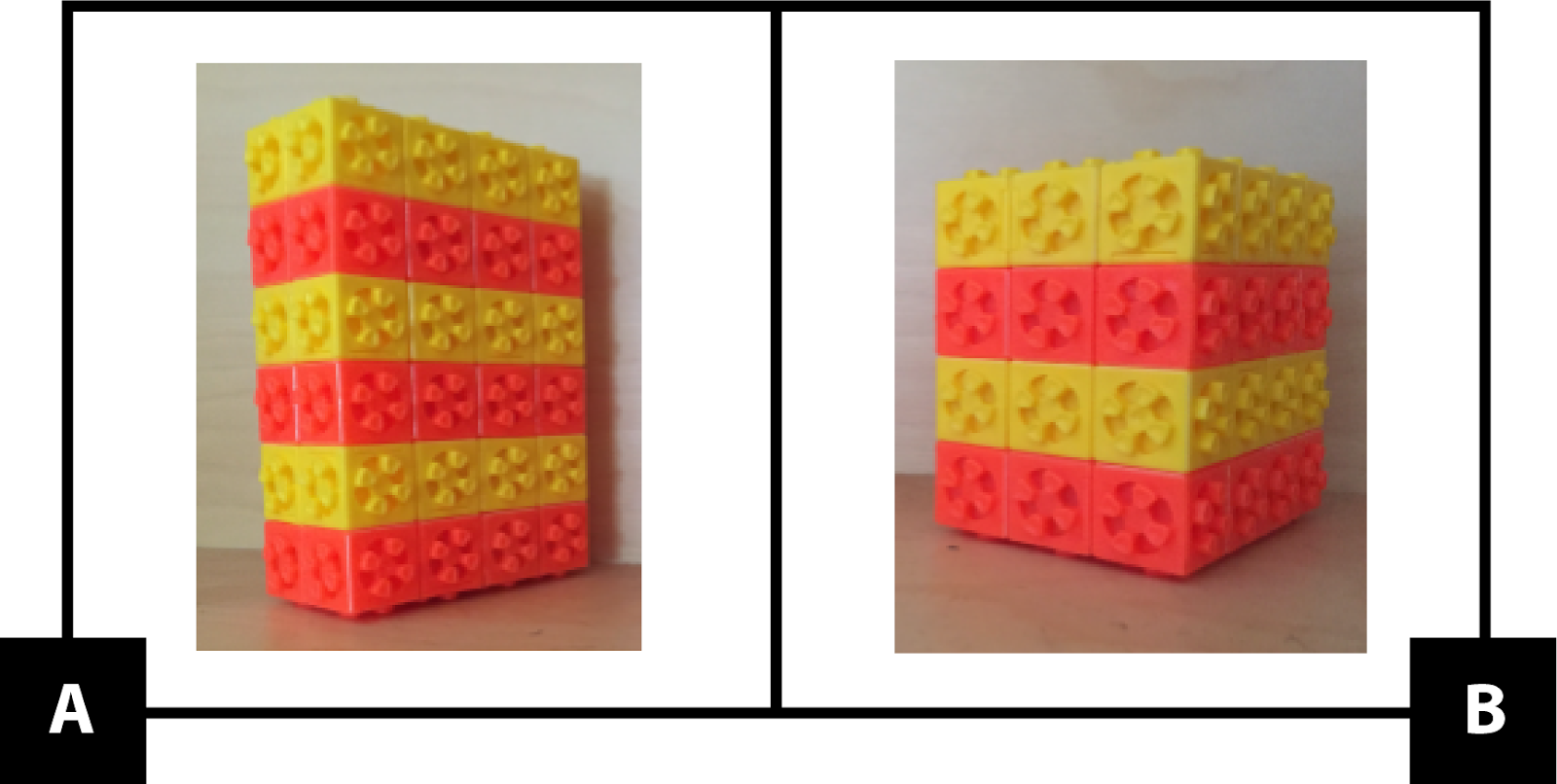 A: A rectangular prism made with unit cubes. It is 2 units long by 4 units wide by 6 units tall. The cubes alternate colors in layers: yellow, orange, yellow, orange, yellow, orange. B: A rectangular prism made with unit cubes. It is 3 units long by 4 units wide by 4 units tall. The cubes alternate colors in layers: yellow, orange, yellow, orange.
