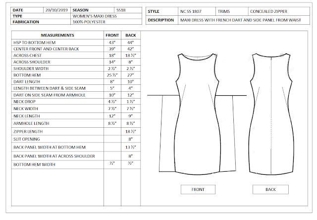 Garment spec sheet