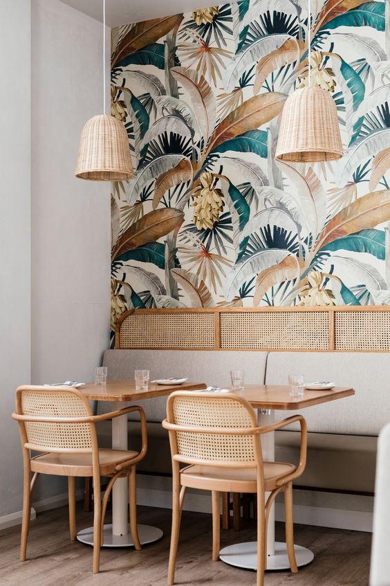 Floral wallpaper design at Sisterhood restaurant in Australia.
