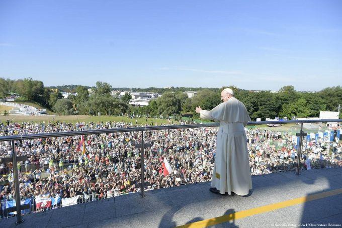 Pope Francis speaks to youth outside of Krakow's St. John Paul II Shrine, July 30, 2016. Credit: L'Osservatore Romano.
