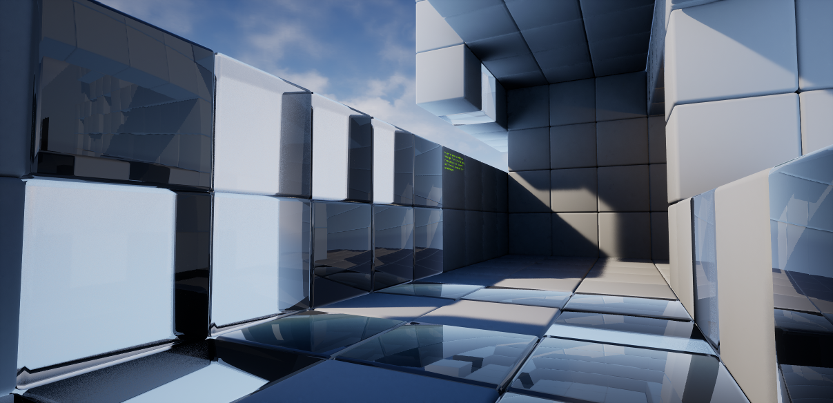 Ray-traced reflection and refraction on translucent surfaces creates a lot of light and shadow complexity.