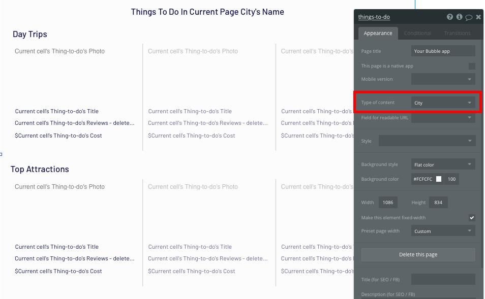 Bubble no-code Tripadvisor clone page configurations
