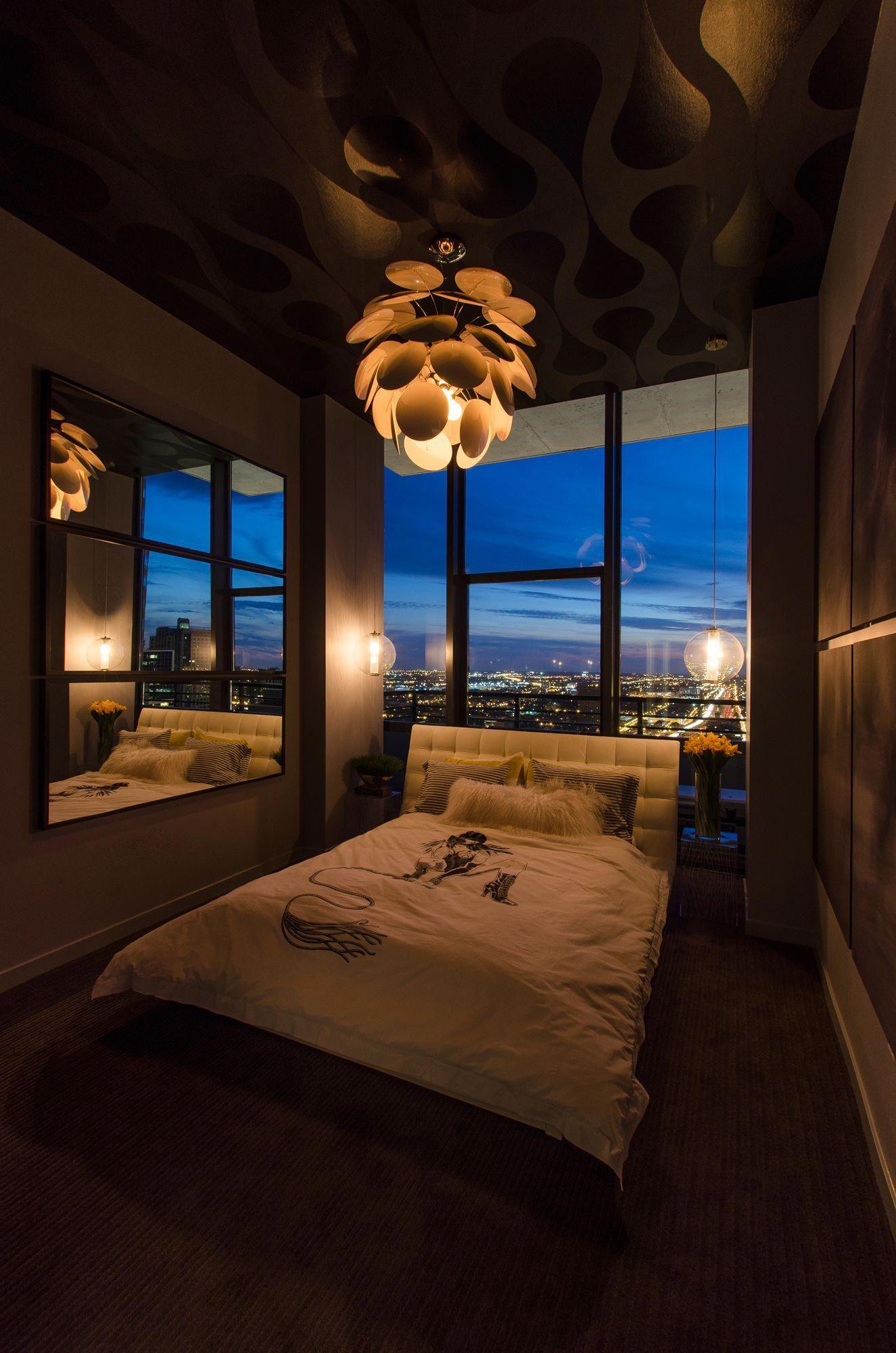 Luxury Bedroom with Unique Chandelier