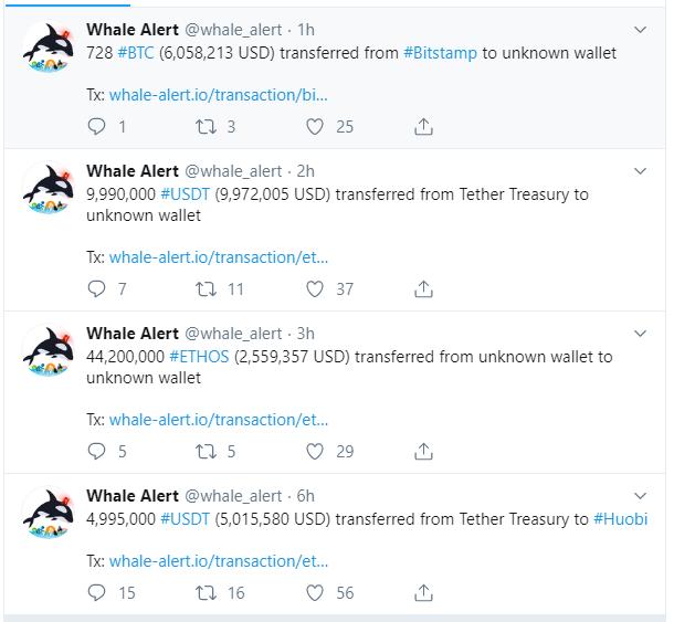 Transacciones desarrolladas durante las últimas horas observadas en el twitter de Whale Alert.
