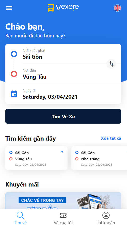 Chọn điểm đi/ điểm đến là Sài Gòn - Vũng Tàu