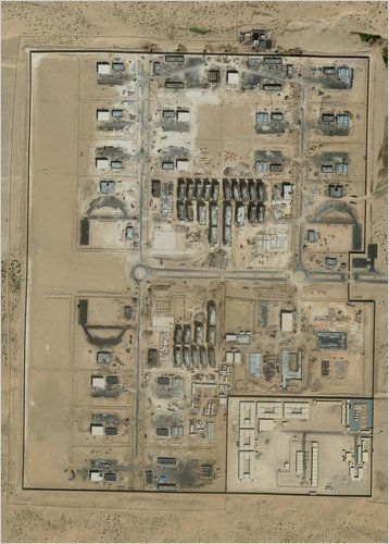 A satellite image of the camp in the U.A.E.  built to train Prince's 800-member mercenary battalion