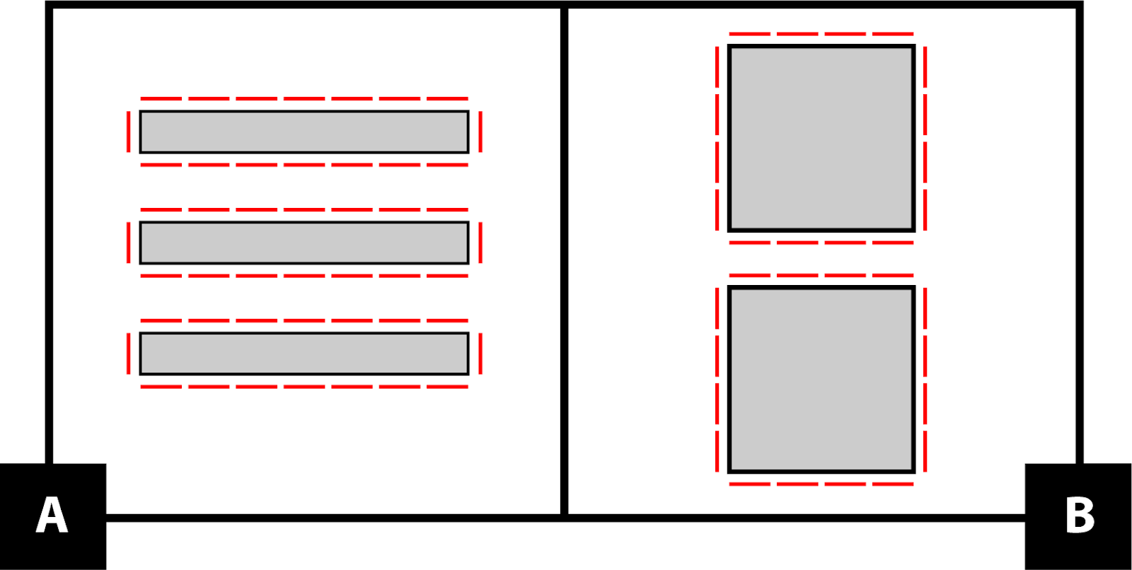 A: a diagram of 3 tables. Each table has 7 seats on the top and bottom and a seat at each end. B: A diagram of two square tables with 4 seats on each side.