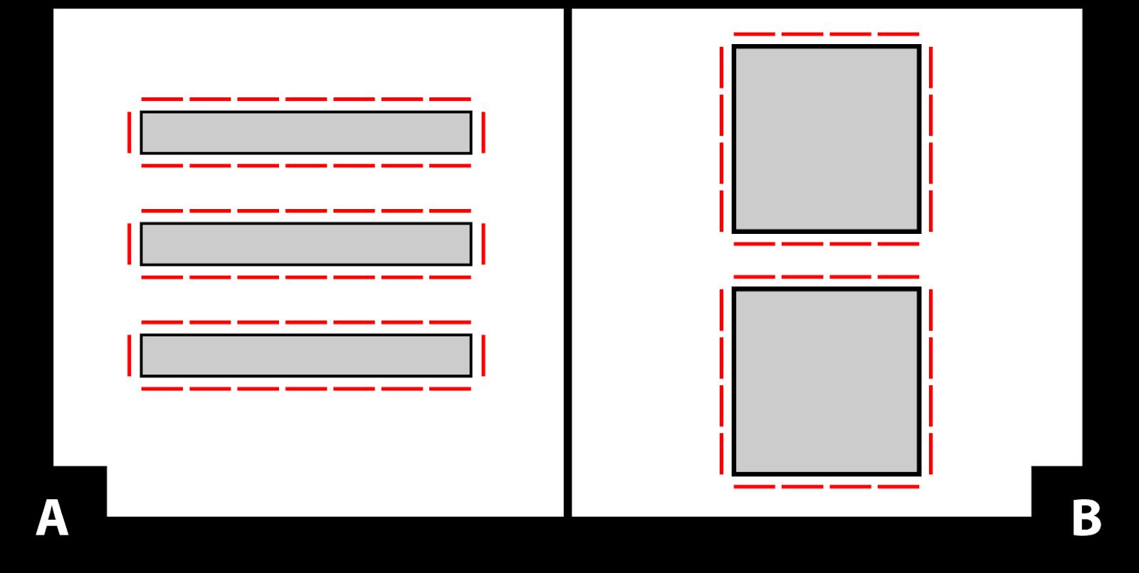 A: un diagrama de 3 mesas. Cada mesa tiene 7 asientos en la parte superior e inferior, y un asiento en cada extremo. B: Un diagrama de dos mesas cuadradas con 4 asientos en cada lado.
