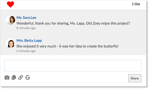 A conversation between a parent and teacher are shown with the reply field parents can use to share comments with the teacher. A camera, file image, link image, and Google Drive icon are shown to highlight the various ways parents can respond.