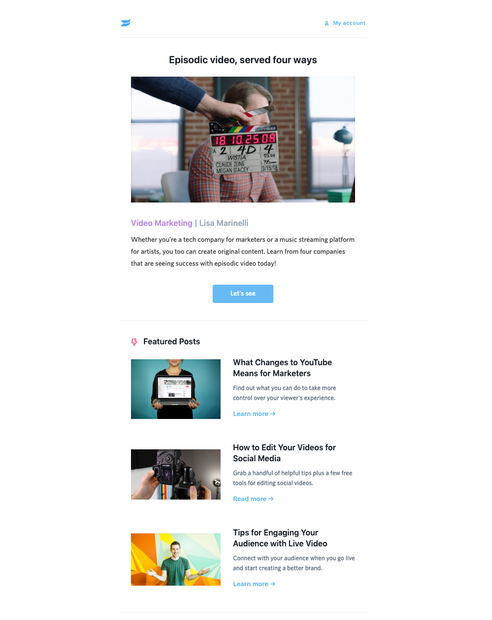 Example of Wistia email newsletter.