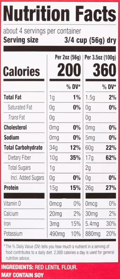 Red Lentil Rotini Nutrition Facts