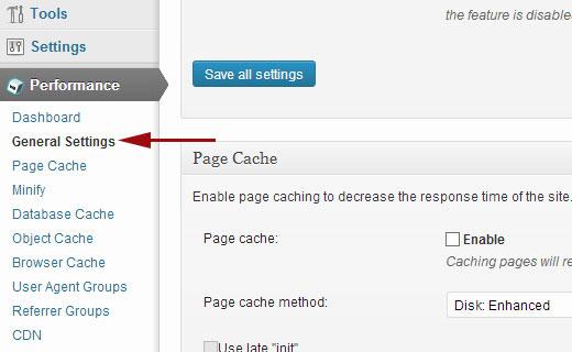 Trang cài đặt chung W3 Total Cache