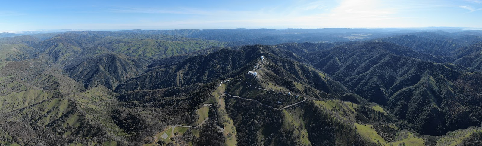 Cycling Mt. Hamilton - Lick Observatory aerial drone photo of observatories and road
