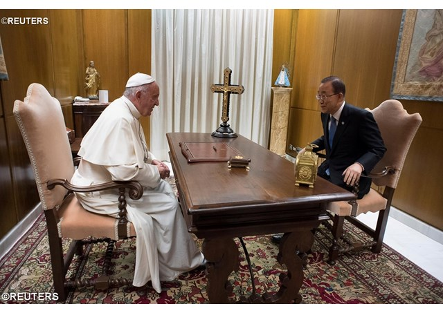 Pope Francis meets privately on Wednesday with United Nations Secretary-General Ban Ki-moon - REUTERS